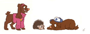 Gravity falls pups and Norman porcupine by Sammaella