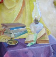 Still life with books and a lamp by articraft