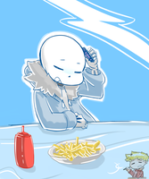 Sans at the Grillby's by Caguiat233