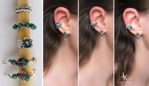 Sterling silver ear cuffs and studs set Forest by JSjewelry