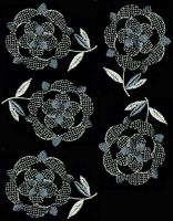 Embroidered Blk Flower Fabric by Jaxxys-Stock