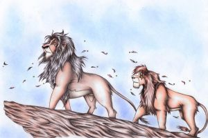 Scar and Kovu back in the Prid by Elia88