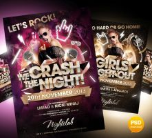 We Crash The Night And Girls Night Out Partyflyer  by Party-Flyer