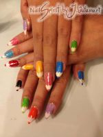Crayon nail art by Jutamart
