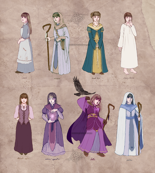 mage-cleric outfits / Rowena ref sheet by Ithilloth