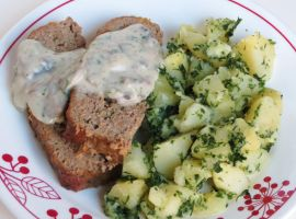 Smothered Mushroom Meatloaf with Parsley Potatoes by Kitteh-Pawz