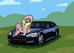 Fluttershy and Tesla S by dmtactical