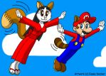 Whitnee and Mario - Flying Friends by CaseyDecker