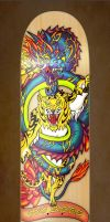 Dragon and Tiger Entwined Skateboard Deck Art by lalafox456