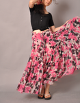 Pink White Brown Floral Skirt7 by yystudio