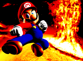 Mario on a fiery Galaxy by Legend-tony980