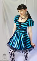 satin stripe Dark Alice in Wonderland gothic lolit by smarmy-clothes