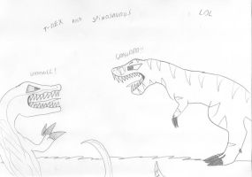 Spinosaurus Vs T-Rex 2 by Marcella-Youko