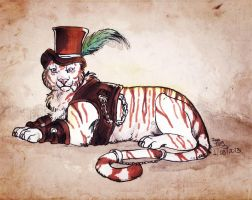 Steampunk white tiger by IzaPug