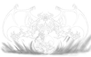 Sorcerer of Battle v3_The Great Invocation_Lineart by Unreal-Forever