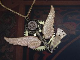 Steampunk flying key necklace by Hiddendemon-666