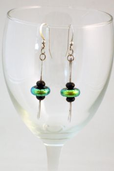 Green Glass and Silver Earring by MrsCleaver