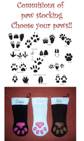 Commisions of Animal Paw stocking choose your own by WolfPink