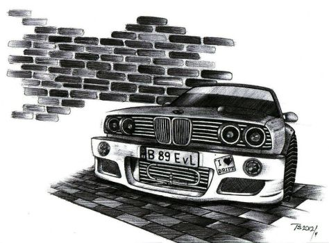 BMW E30 (only ballpoint pen drawing) by stigspeed60