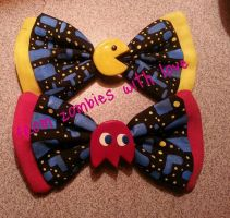 Pac-Man and Blinky Bows by fromzombieswithlove