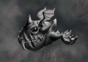 Flying big toothed creature Black and White by floopate
