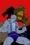 Tmnt/Thundercats: Mike and Panthro (colored) by 13BatScorpion95