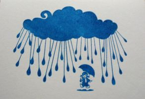 Girl in the Rain Gocco Print by minkee