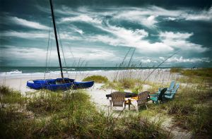 the chairs boat the sea by b-rooks