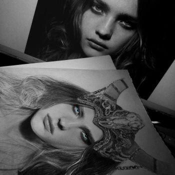 Natalia vodianova Viking drawing repherence photo by Aeriz85