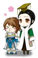 Chibi Xiahou Ba and Liu Shan by Foxalollita