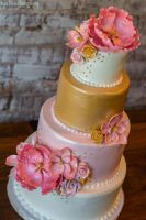 Pink and Gold Four Tiered Wedding Cake by novavistaphotography