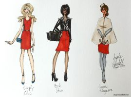 Summer Vacation Fashion Sketches 4 by angelaaasketches