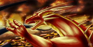 Dragon in fire by H-brid