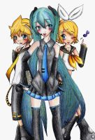 Len Miku and Rin by Kamelii