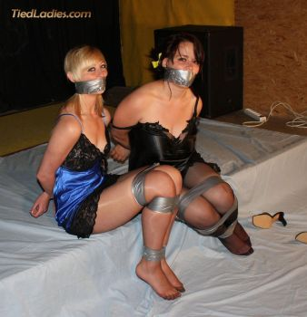 Scarl-Anne and Lynsha, Two satin cuties well taped by PhMBond