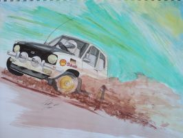 VW Rabbit Watercolor and Marker by prestonthecarartist