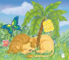 Lion and butterfly color by jkBunny