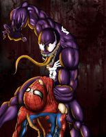 venom VS spiderman by kakarotoo666