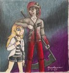 A Girl and a Killer (traditional/fan art)  by The-MAD-Overlord