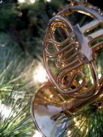 French Horn Ornament by HungryxHungryxHippos