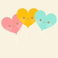 Kawaii Heart Balloons by apparate