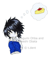 Death Note - L and Cake by TheQueenofKawaii