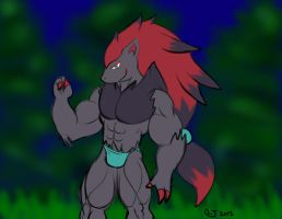 Buff Anthro Pokemon: Zoroark by CaseyLJones