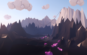 Low Poly Cel Mountain Clouds by jaytazle