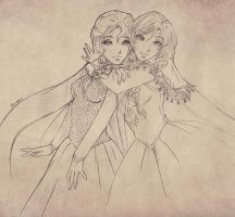 Elsa and Anna by Phadme