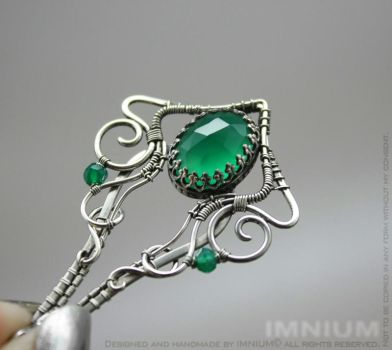 Green Onyx Pendant open back bezel by IMNIUM