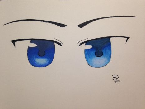 Blue Eyes: Marker and Pencil by Winter--Dove