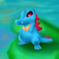 Day3: Water Starter-Totodile by KureoRaC