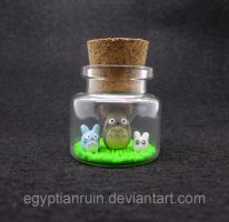 NEW STYLE Tiny Totoro Bottle Art by egyptianruin