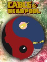 Ying Yang Cable and Deadpool by flamingvoltage